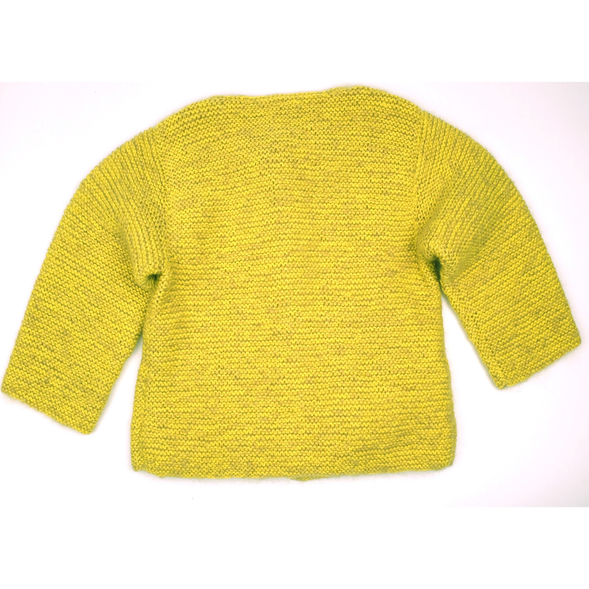 Marie-Jeanne cardigan flecked lime green color for baby back