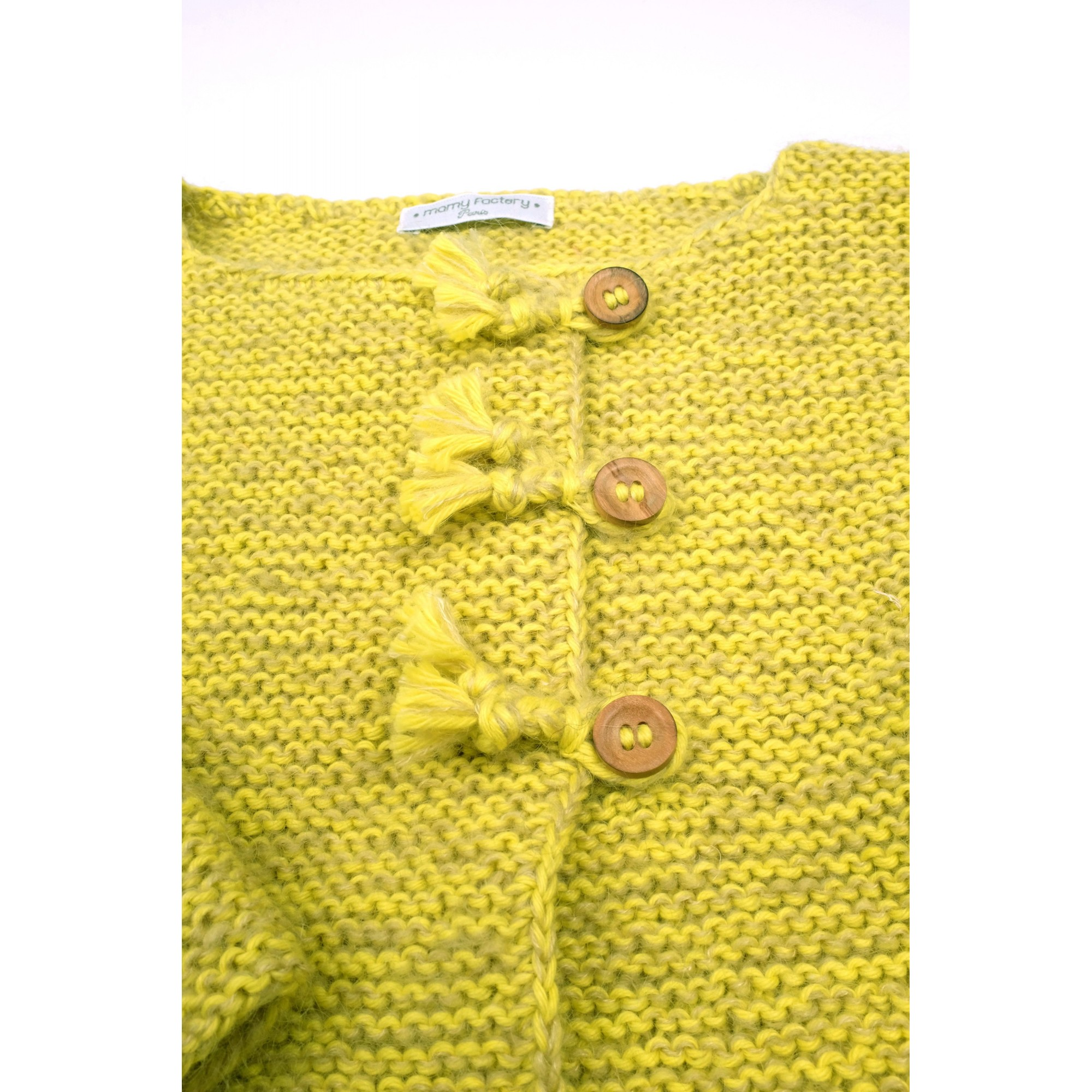 Marie-Jeanne cardigan flecked lime green color detail