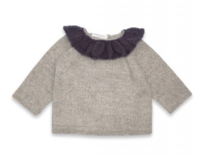 Pierre sweater grey with navy blue collar alpaca baby
