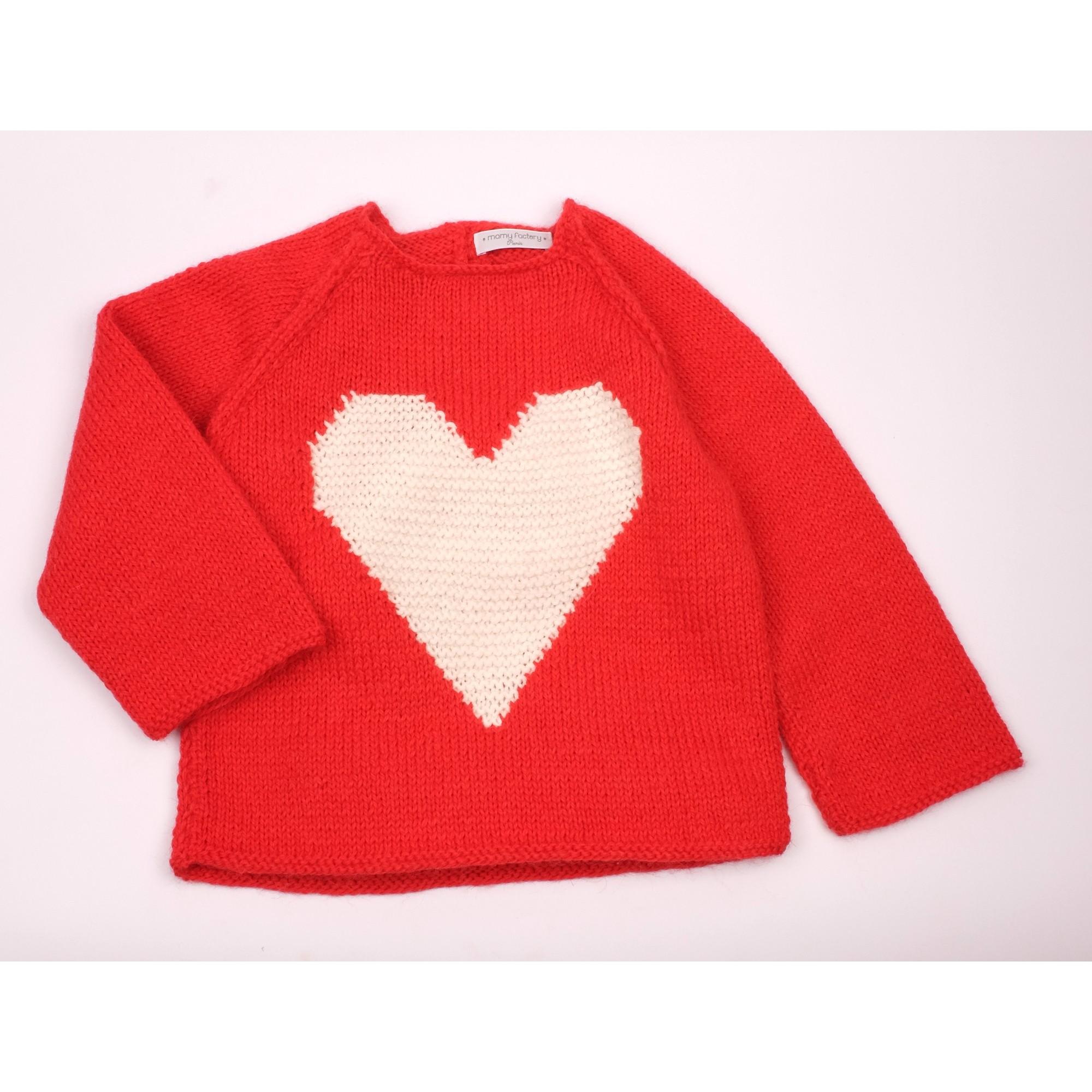 Pull Agénor rouge coeur blanc laine alpaga 2