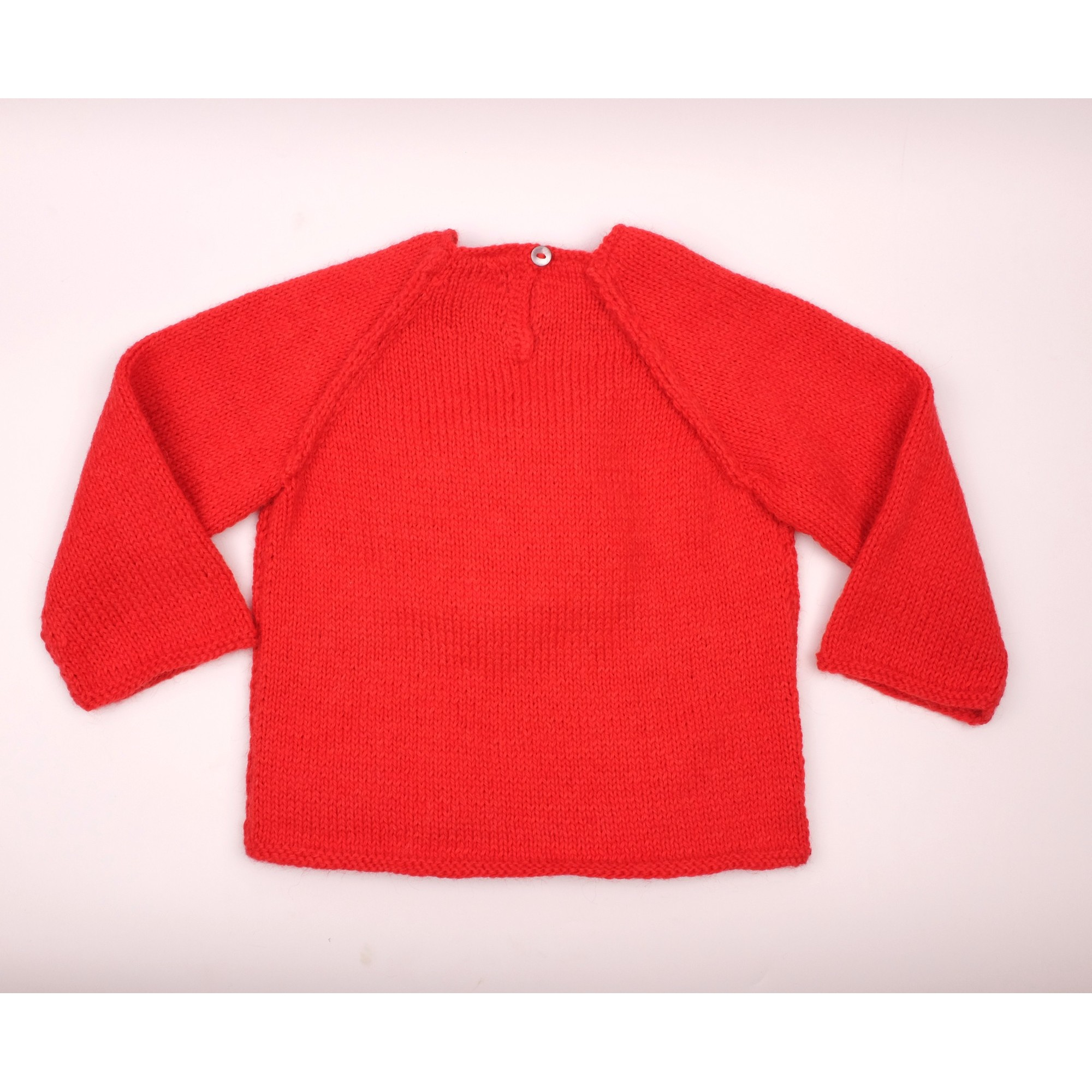 Pull Agénor rouge coeur blanc laine alpaga dos