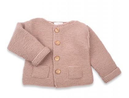 Gilet Simone laine poches bébé taupe