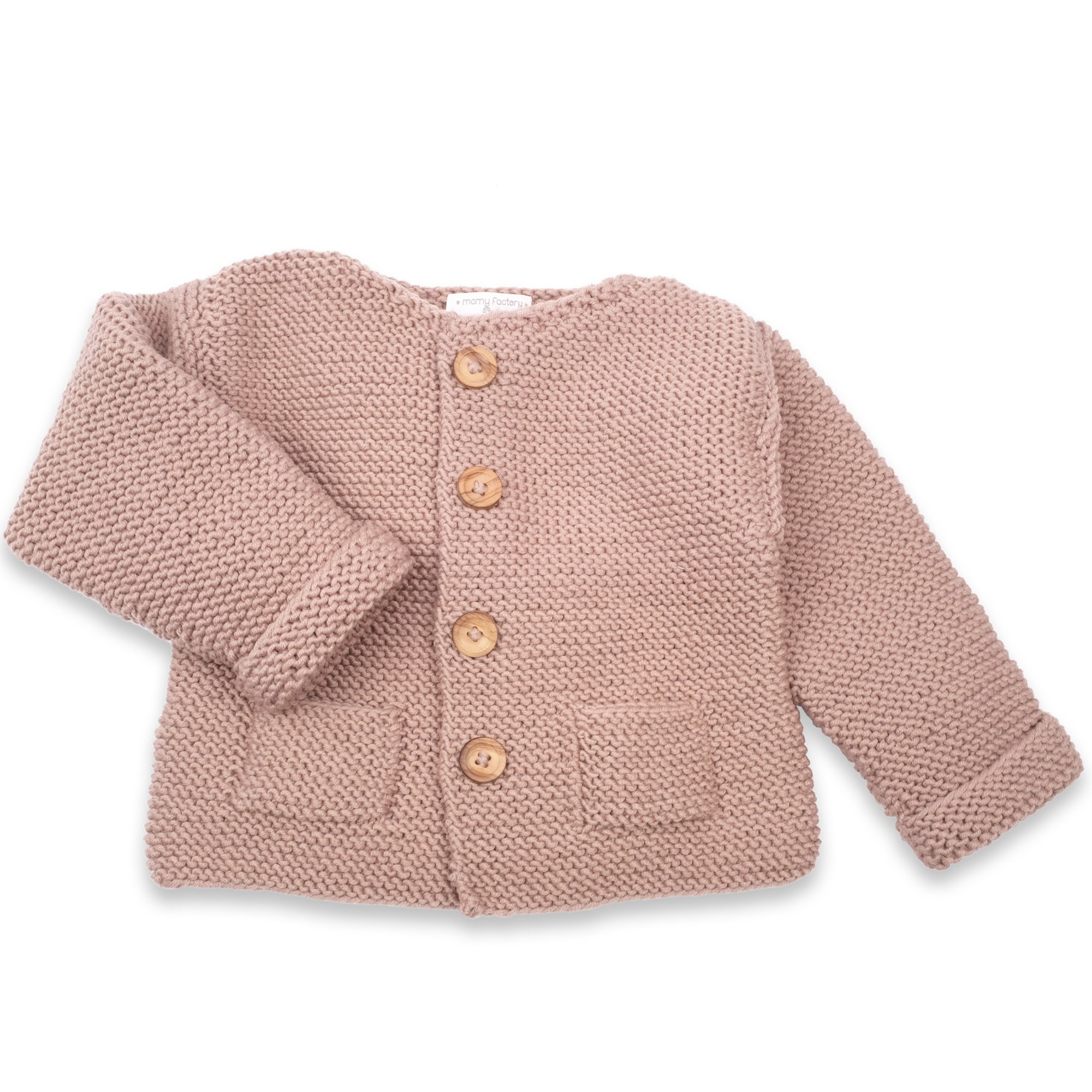 23052b40e Granny s knitwear - Taupe baby cardigan with two pockets at the ...