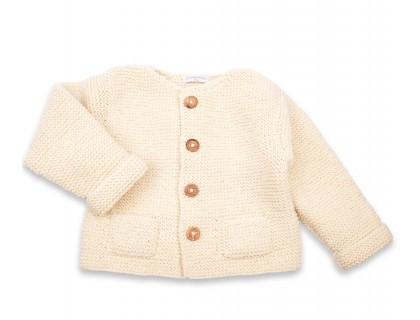 Simone cardigan wool pockets baby natural white