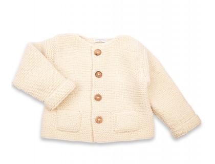Gilet Simone laine poches enfant écru
