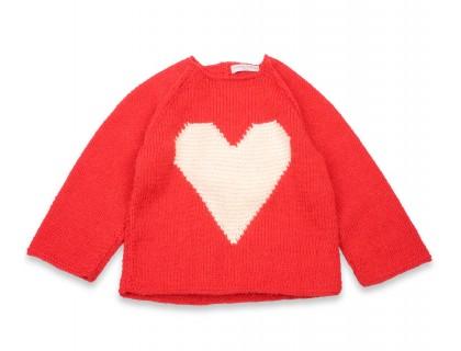 Pull Agénor rouge coeur blanc laine alpaga
