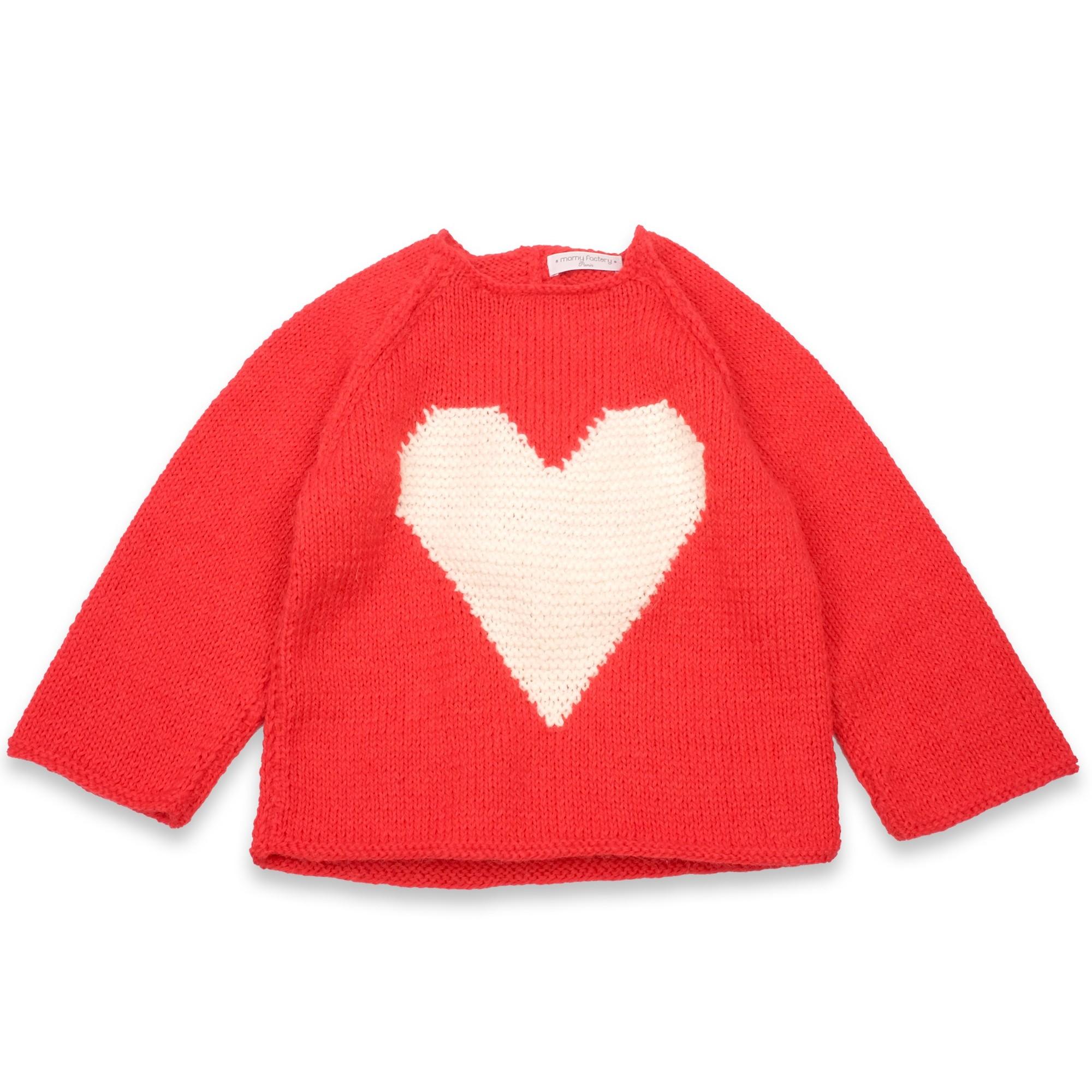 les tricots de mamy pull enfant doux et moelleux en laine et alpaga avec un gros coeur blanc. Black Bedroom Furniture Sets. Home Design Ideas