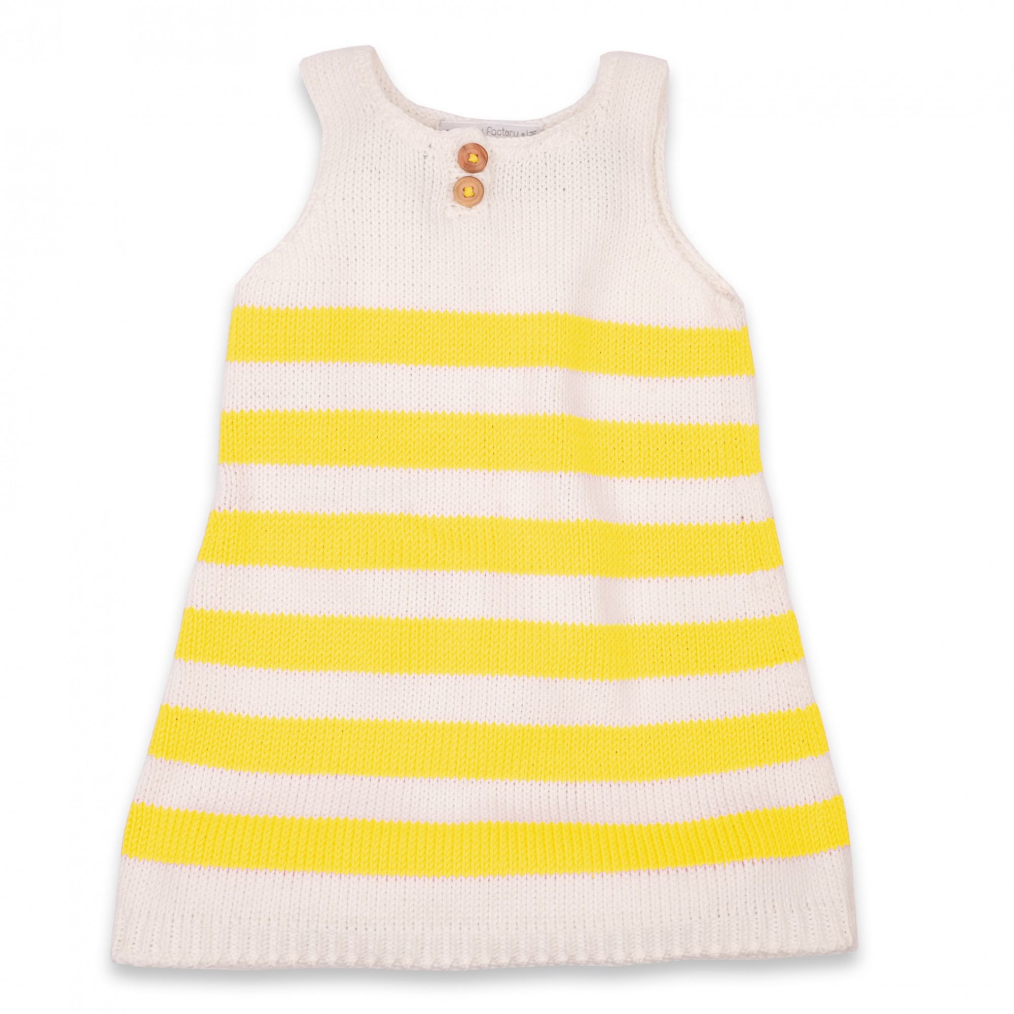 Granny s knitwear – Natural white and lemon yellow striped dress for