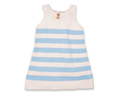 Augustine Dress for kid, blue stripes very soft