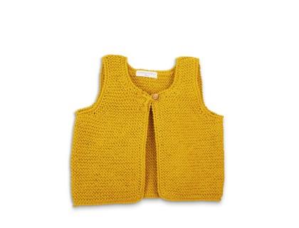 Gilet sans manche Lucette couleur curry en coton enfant