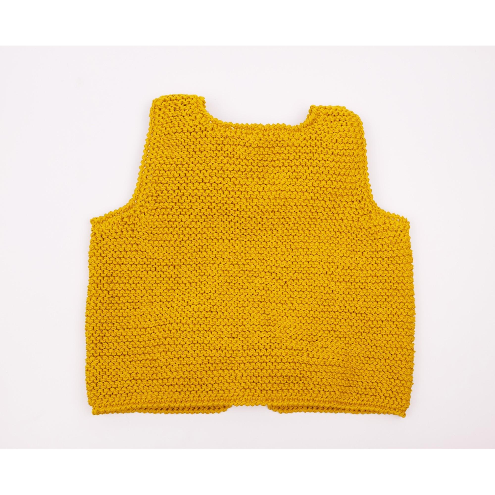 Gilet sans manche Lucette couleur curry en coton enfant dos