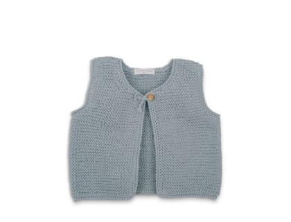 Gilet sans manche Lucette bleu azur en coton