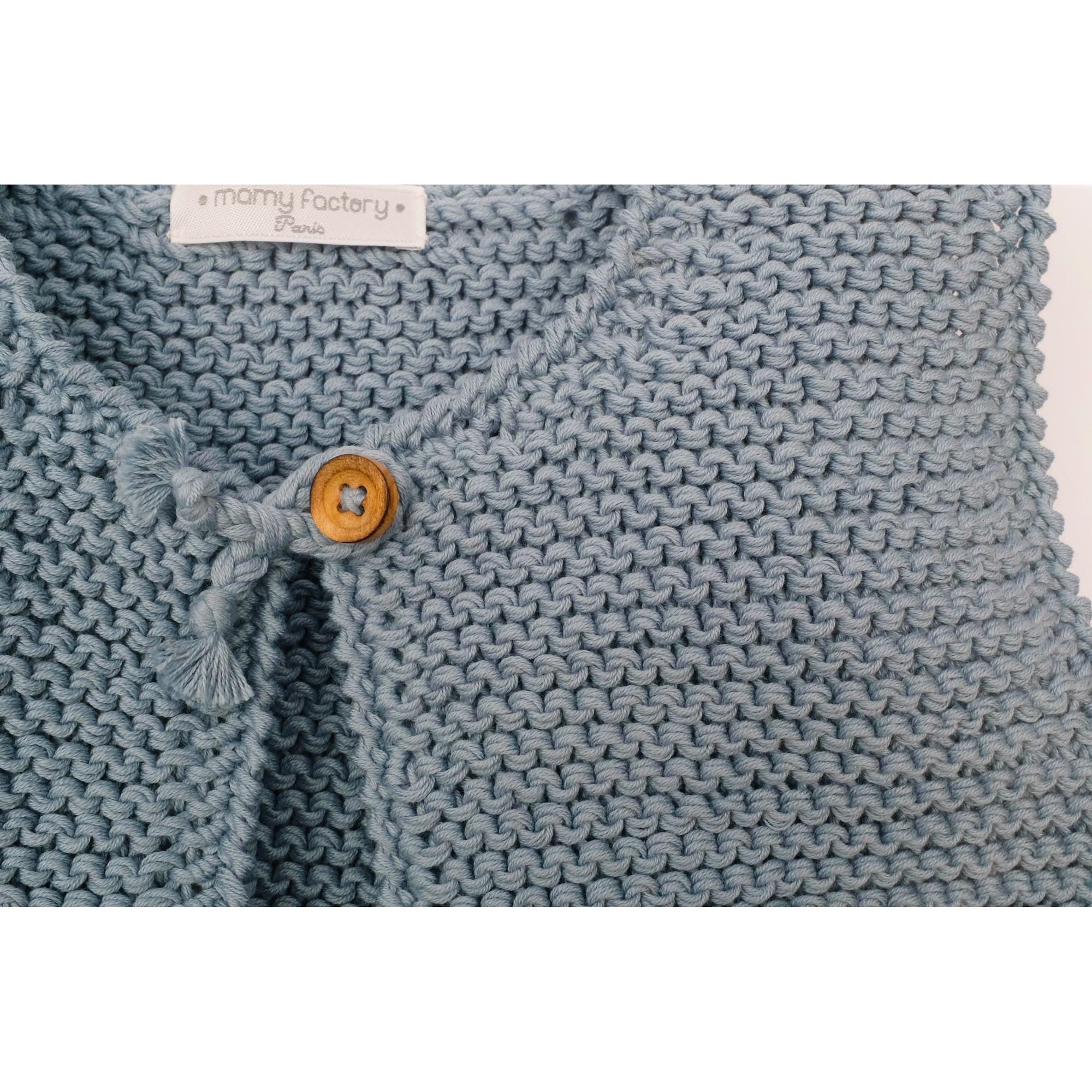 les tricots de mamy gilet enfant sans manches azur tricot en point mousse ferm par un. Black Bedroom Furniture Sets. Home Design Ideas