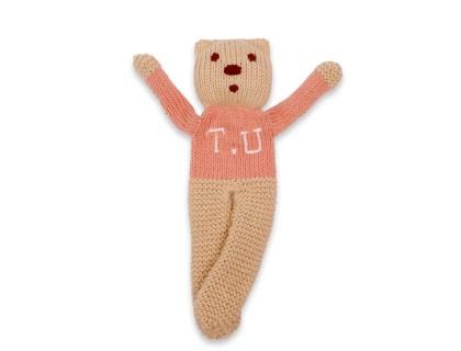 Ourson tricoté vieux rose coton cachemire à personnaliser