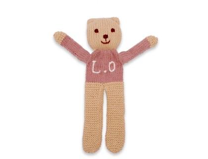 Ourson tricoté santal coton cachemire à personnaliser