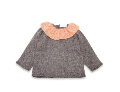 Pierre sweater grey - old pink & gold collar