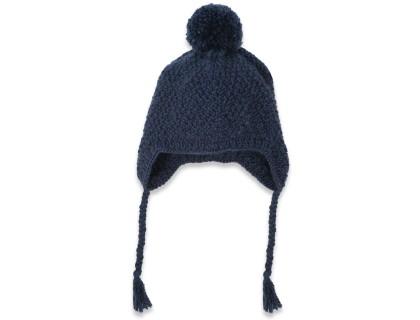 Bonnet enfant bleu nuit en laine et alpaga