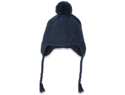 Night blue baby cap made from wool and alpaga