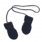 Gants/Moufles enfant bleu nuit en laine et alpaga - tricotés au point de blé