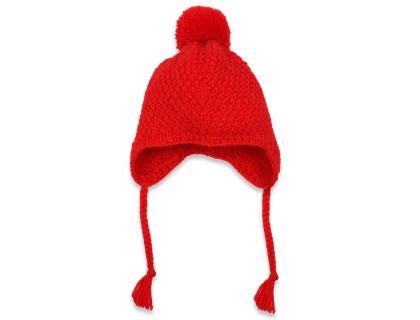 Bonnet enfant rouge type péruvien en laine et alpaga tricoté au point de blé