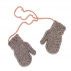 Grey and pink mittens for kid - Merino and angora