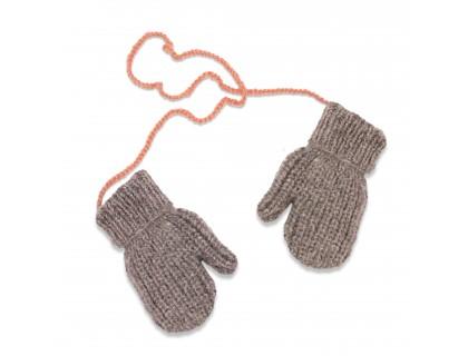 Gants/Moufles gris et rose pour enfant - mérinos et angora