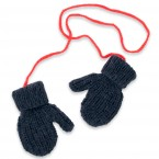 Navy blue and red mittens for kid - merino and angora