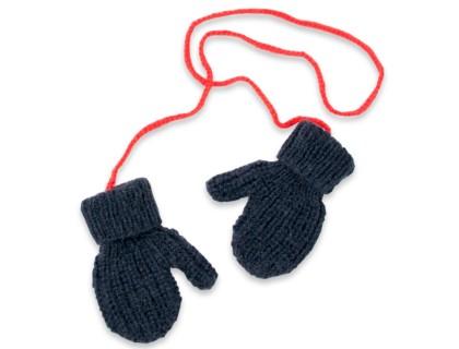 Gants/Moufles pour enfant bleu marine et rouge  - mérinos et angora