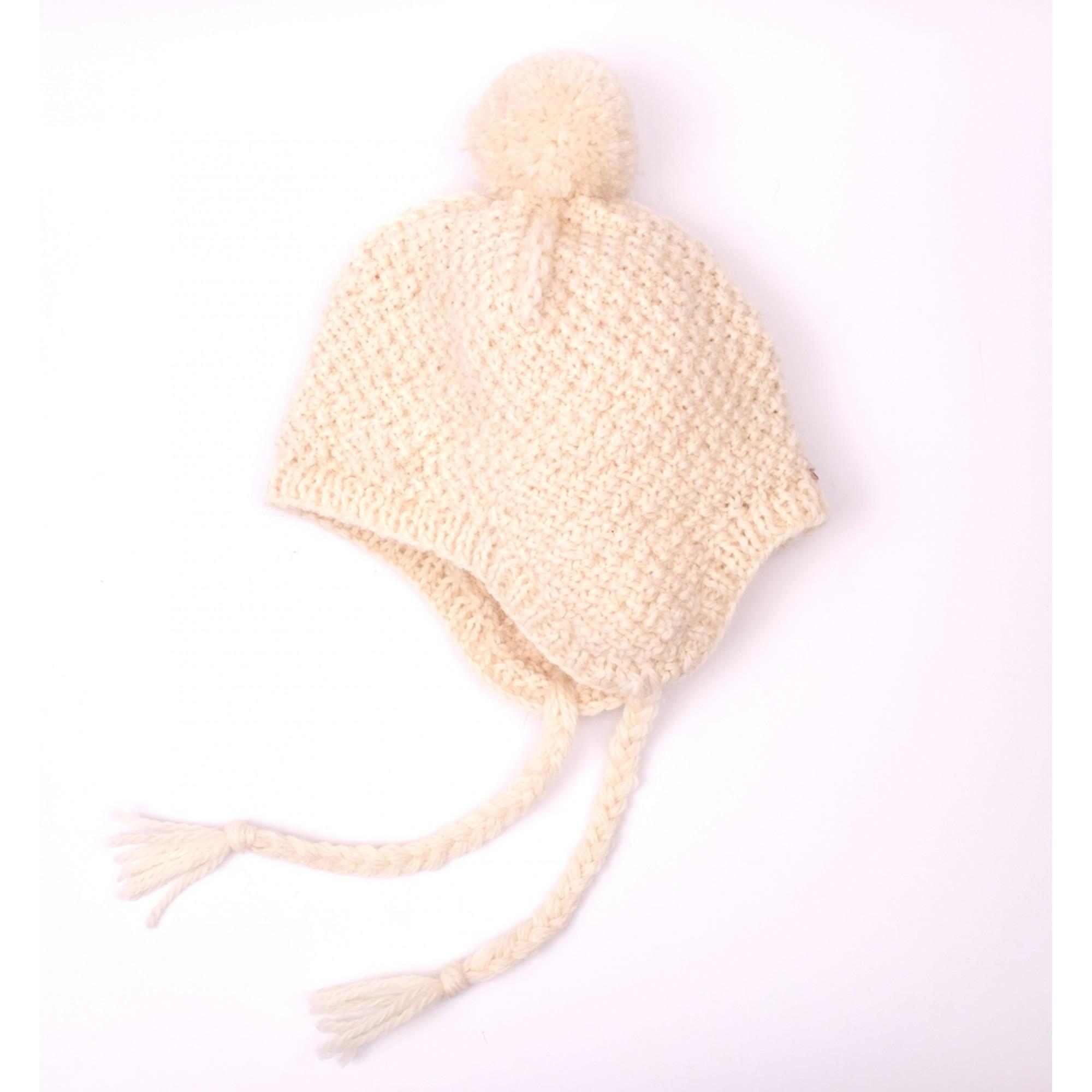 Bonnet Emile écru pour bébé - type péruvien en laine et alpaga -  autre vue