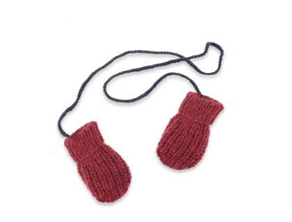 Fernand mittens for baby - raspberry and navy blue colors - merino and angora