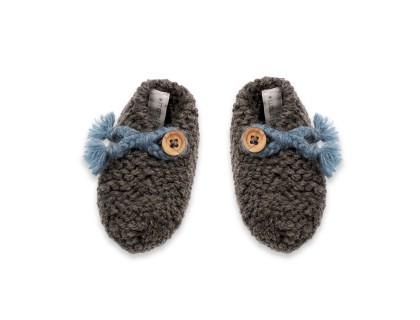 Chaussons Joseph pour bébé - coloris bleu et anthracite