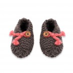 Joseph slippers for baby - anthracite and pink colors