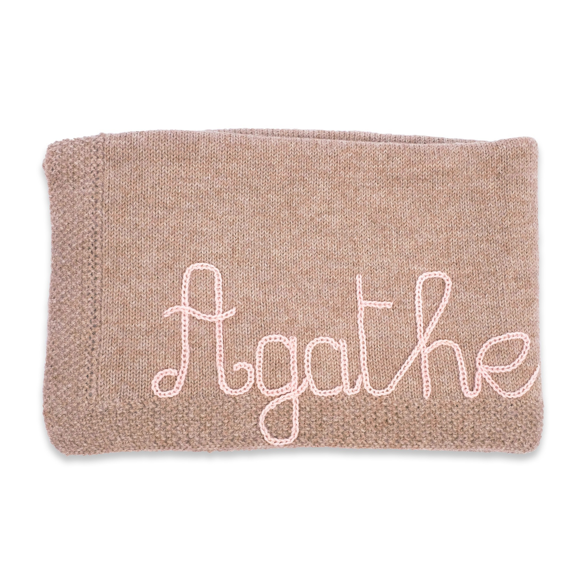 Customizable blanket  with light pink embroidery