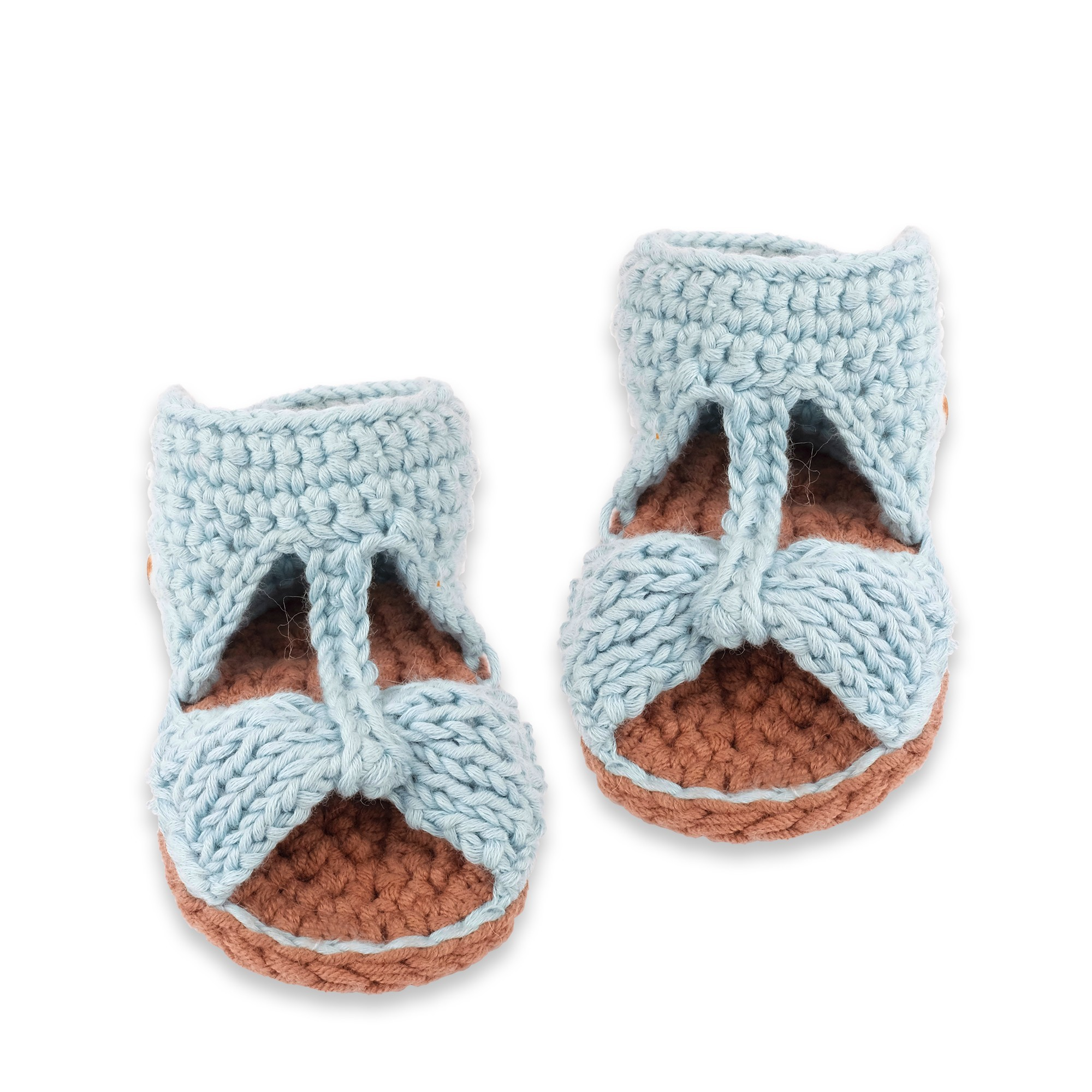 8ff03d26beefd7 Slippers Mamy Factory - Sky blue knitted sandals for baby