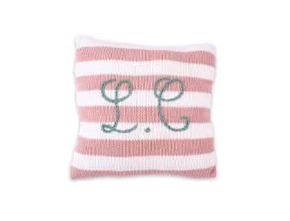 Mini customizable cushion with pink stripes