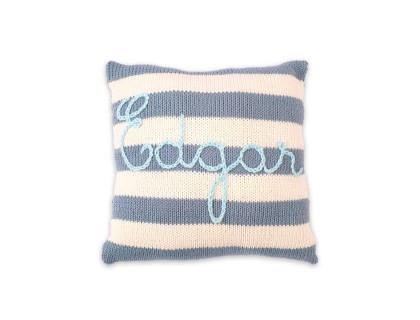Mini coussin personnalisable rayé bleu azure et ivoire