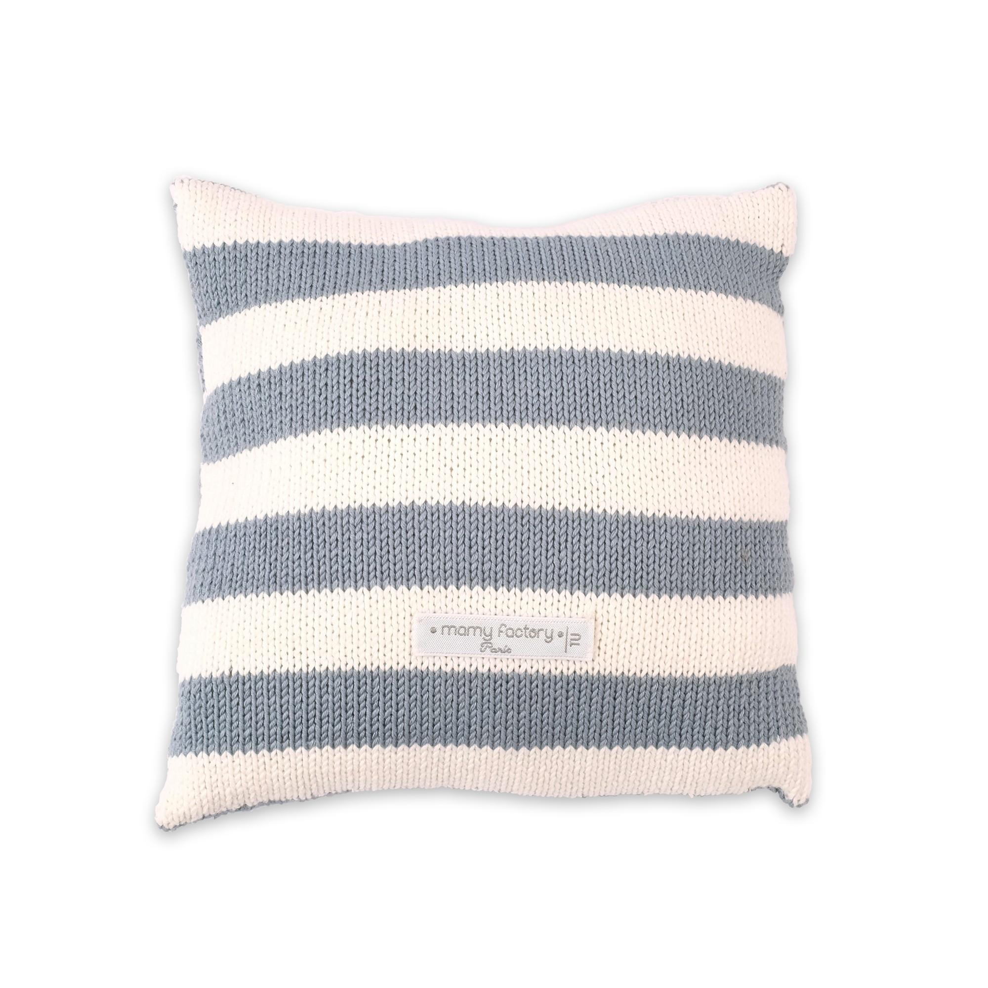 cadeaux de naissance personnaliser coussin tricot bleu. Black Bedroom Furniture Sets. Home Design Ideas