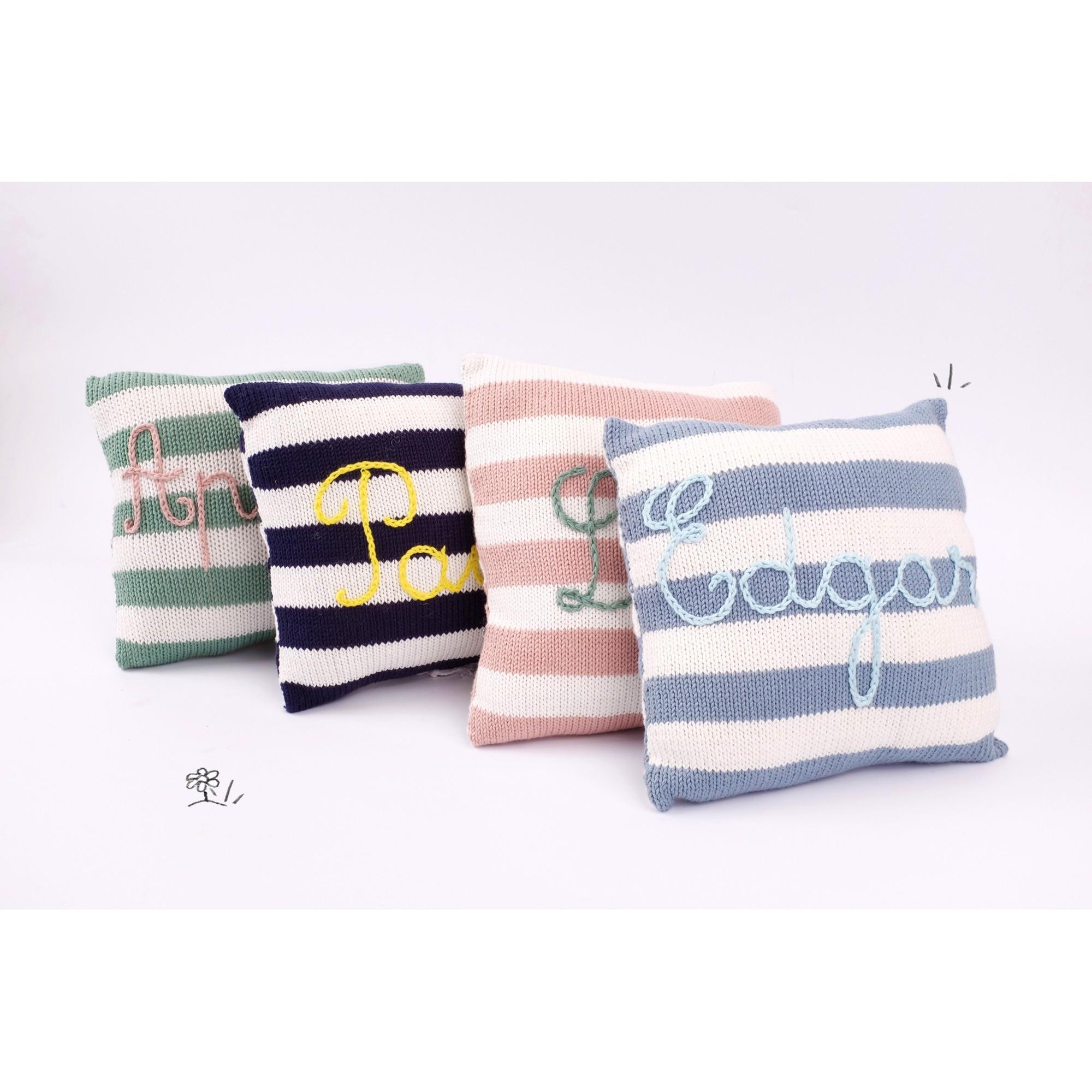 cadeaux de naissance personnaliser coussin tricot bleu ciel cru en coton a faire broder. Black Bedroom Furniture Sets. Home Design Ideas