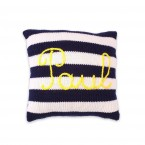 Mini customizable cushion with navy blue stripes