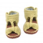 Jeannette sandals handknitted for baby - Almond green color - front view