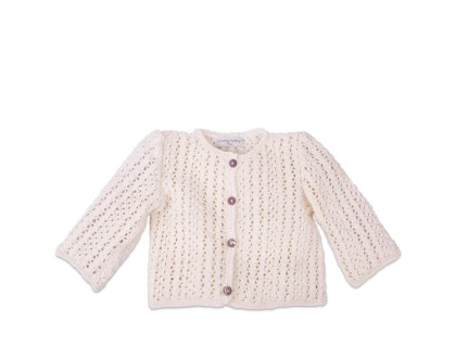 Madeleine cardigan for baby - ivory color - 100% cotton