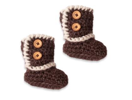 Bottines-chaussons bébé tricotées au crochet - coloris chocolat et beige