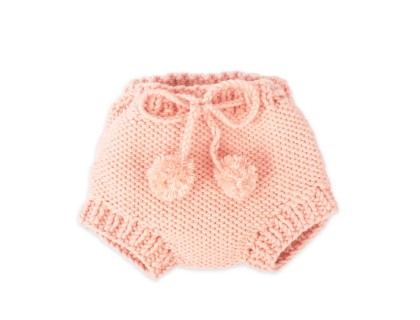 Germain bloomer for baby with belt - pink color - made from cotton