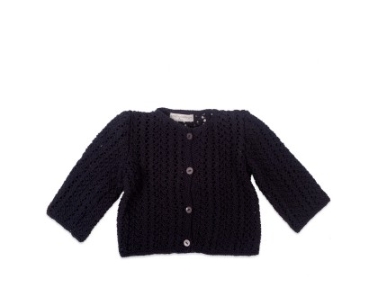 Madeleine cardigan with long sleeves for baby - navy blue color - 100% cotton