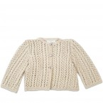 Madeleine cardigan with long sleeves for baby - sand color - lace pattern