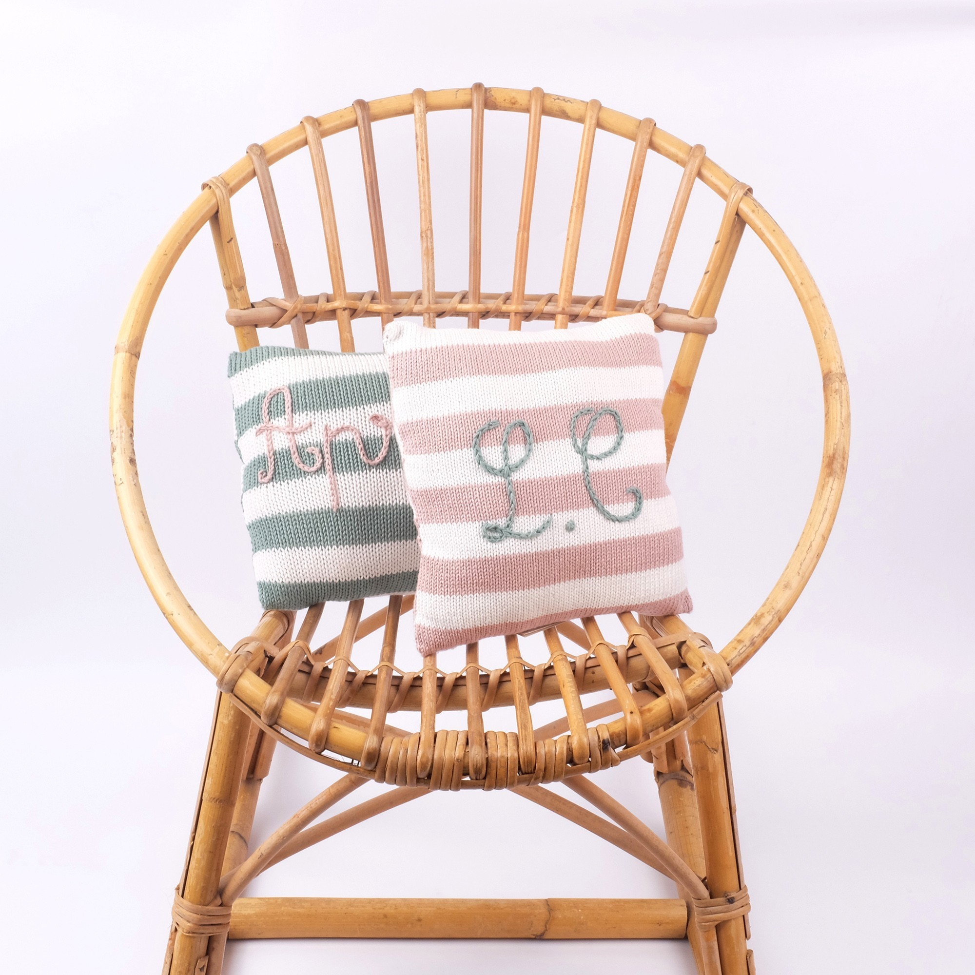Mini customizable cushions - pink striped and almond green striped
