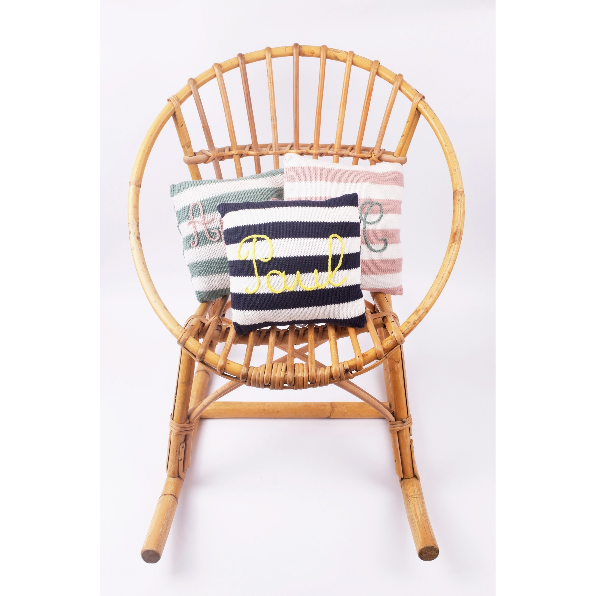 Mini customizable cushions - pink striped, navy blue striped and almond green striped