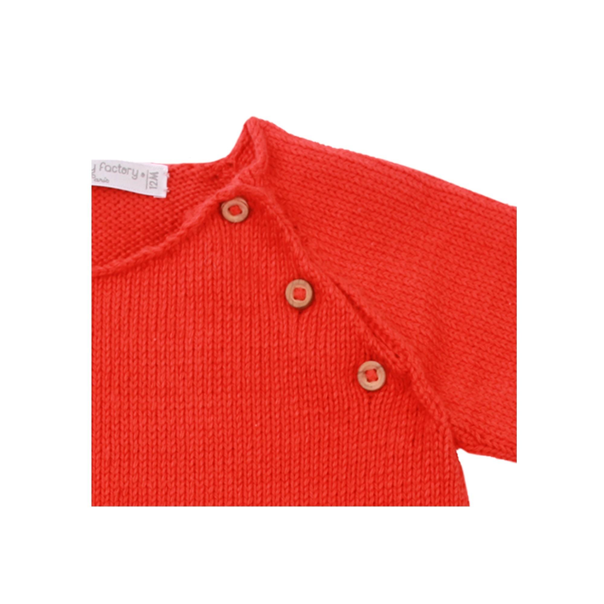 Pull Gaspard pour enfant - coquelicot - détail