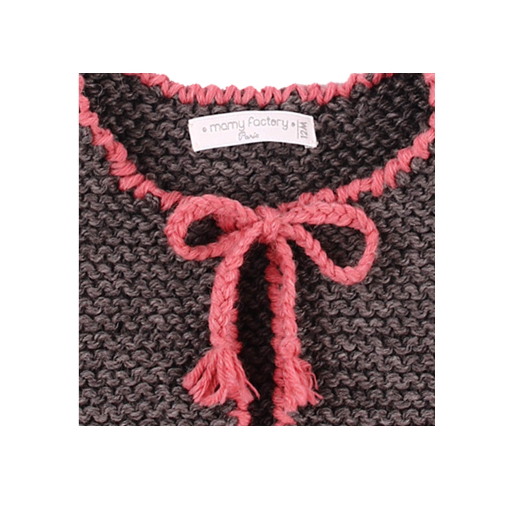 Joseph cardigan for kid - anthracite and pink colors - detail
