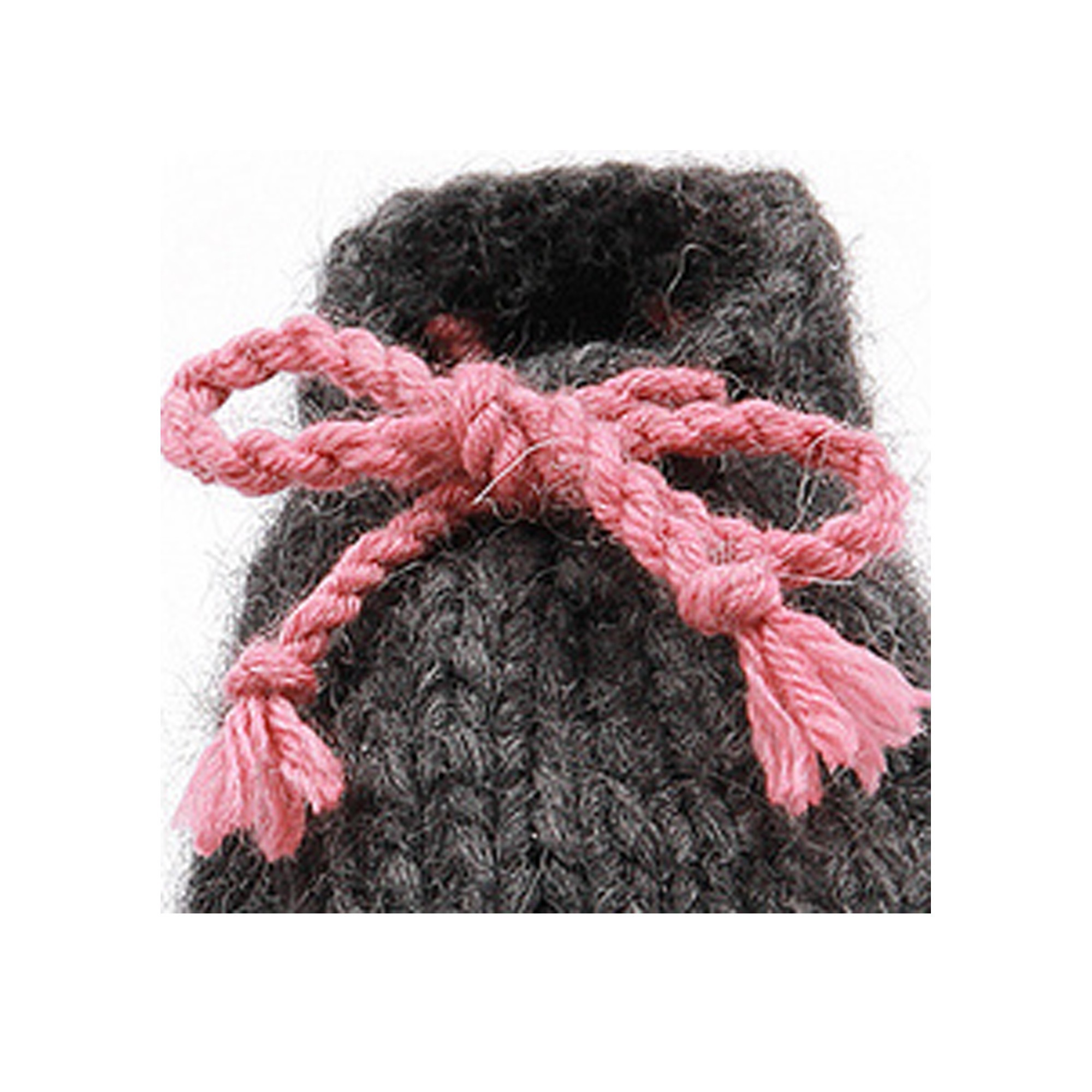 Léon slippers for baby in wool - anthracite and pink color - detail
